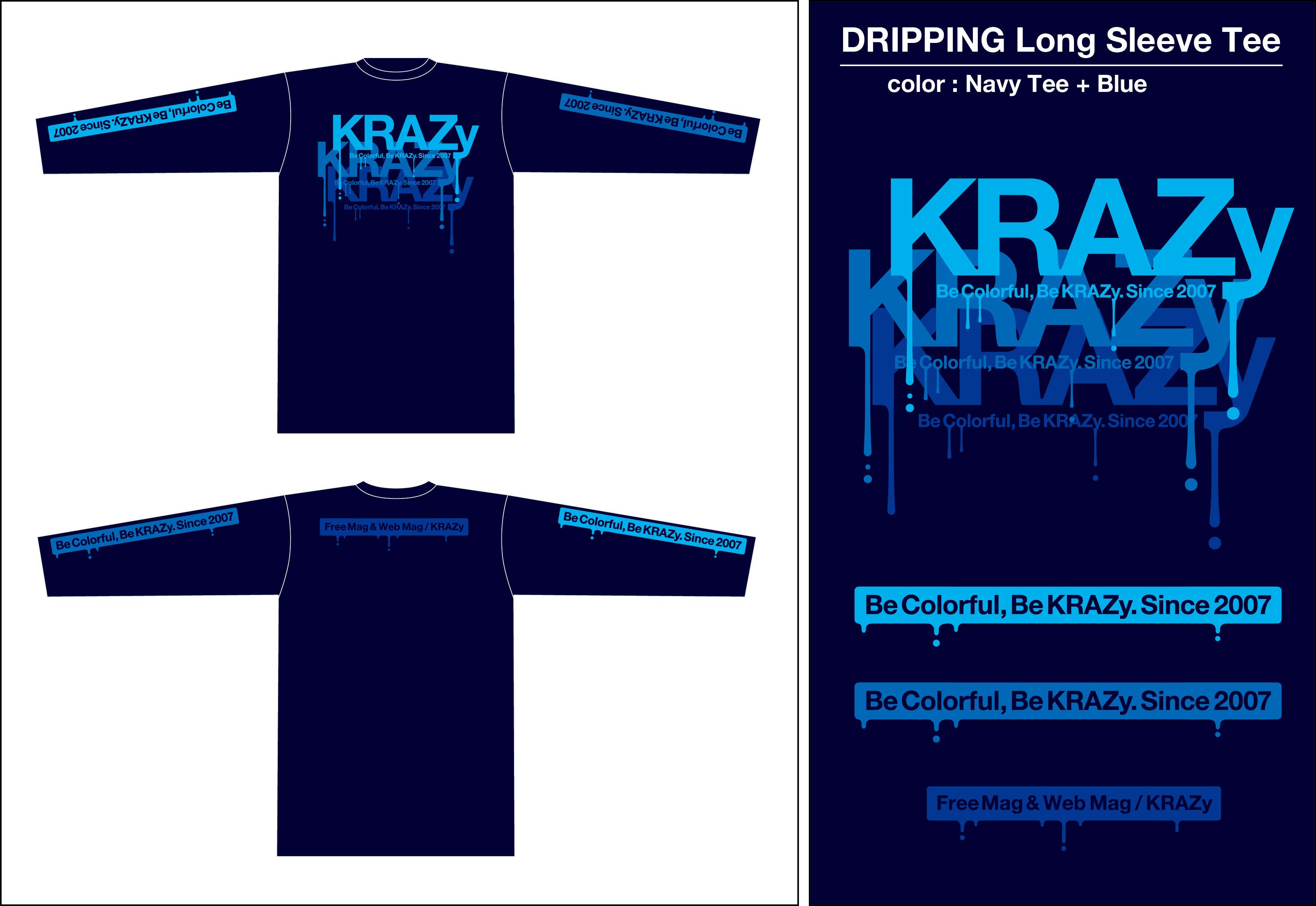 DRP ロンTee_Navy+ブルー